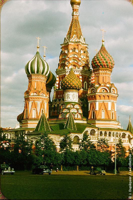 Photographie (résolution écran) : Fonds photographique Jacques Dupâquier — Voyage en URSS en 1956 — Moscou : «Moscou-Cathédrale Saint-Basile-le-Bienheureux»