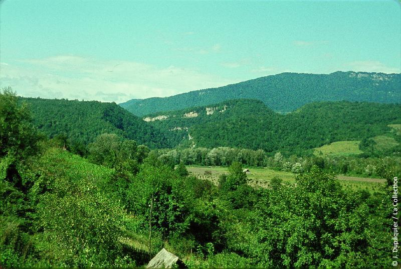 Photographie (résolution écran) : Fonds photographique Jacques Dupâquier — Voyage en URSS en 1964 — Caucase et Georgie : «Sur la route de Krasnaia Poliana-Cluse de la rivière Mzymta»