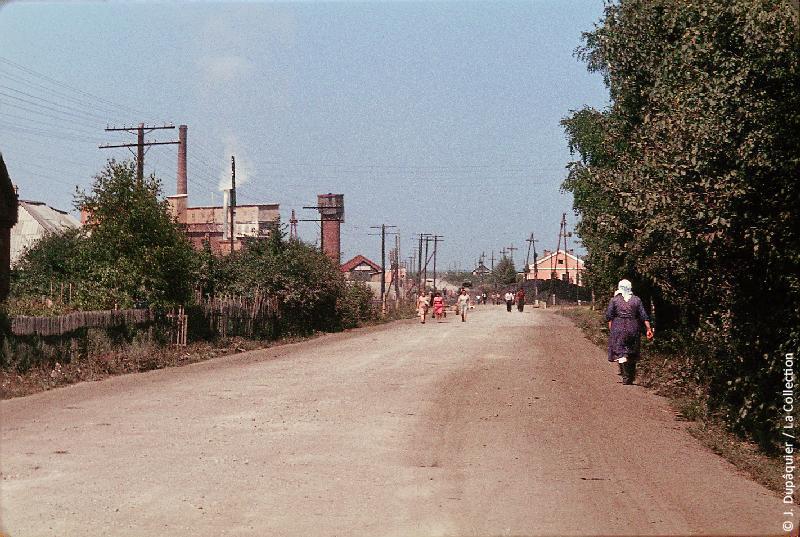 Photographie (résolution écran) : Fonds photographique Jacques Dupâquier — Voyage en URSS en 1964 — Sur la route de Moscou-Minsk Smolensk Borodino : «Sur la route de Borodino-Izdeshkovo-Rue principale»