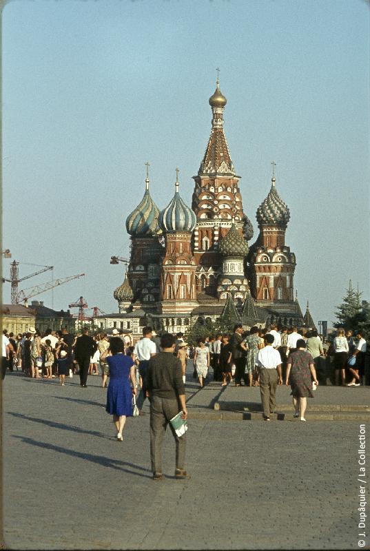 Photographie (résolution écran) : Fonds photographique Jacques Dupâquier — Voyage en URSS en 1964 — Moscou : «Moscou-La Cathédrale Saint-Basile-le-Bienheureux»